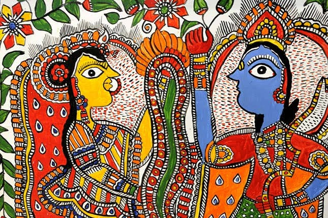 An art called Mithila painting depicting hindu god and goddess~ Radha and Krishna.