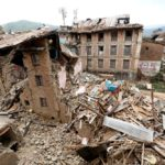 Broken houses after earthquake in Nepal