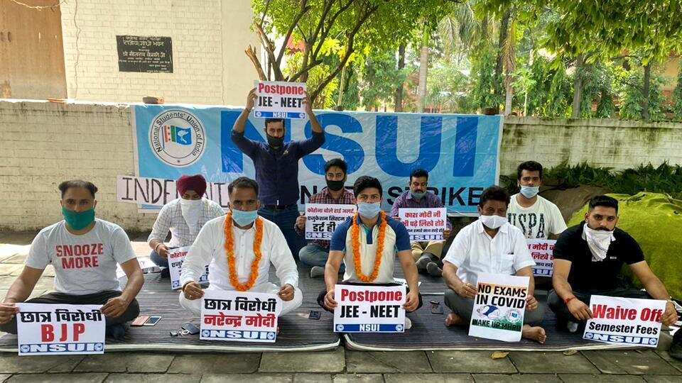 NSUI, a student wing of Congress party protesting against organising NEET and JEE during Covid19.