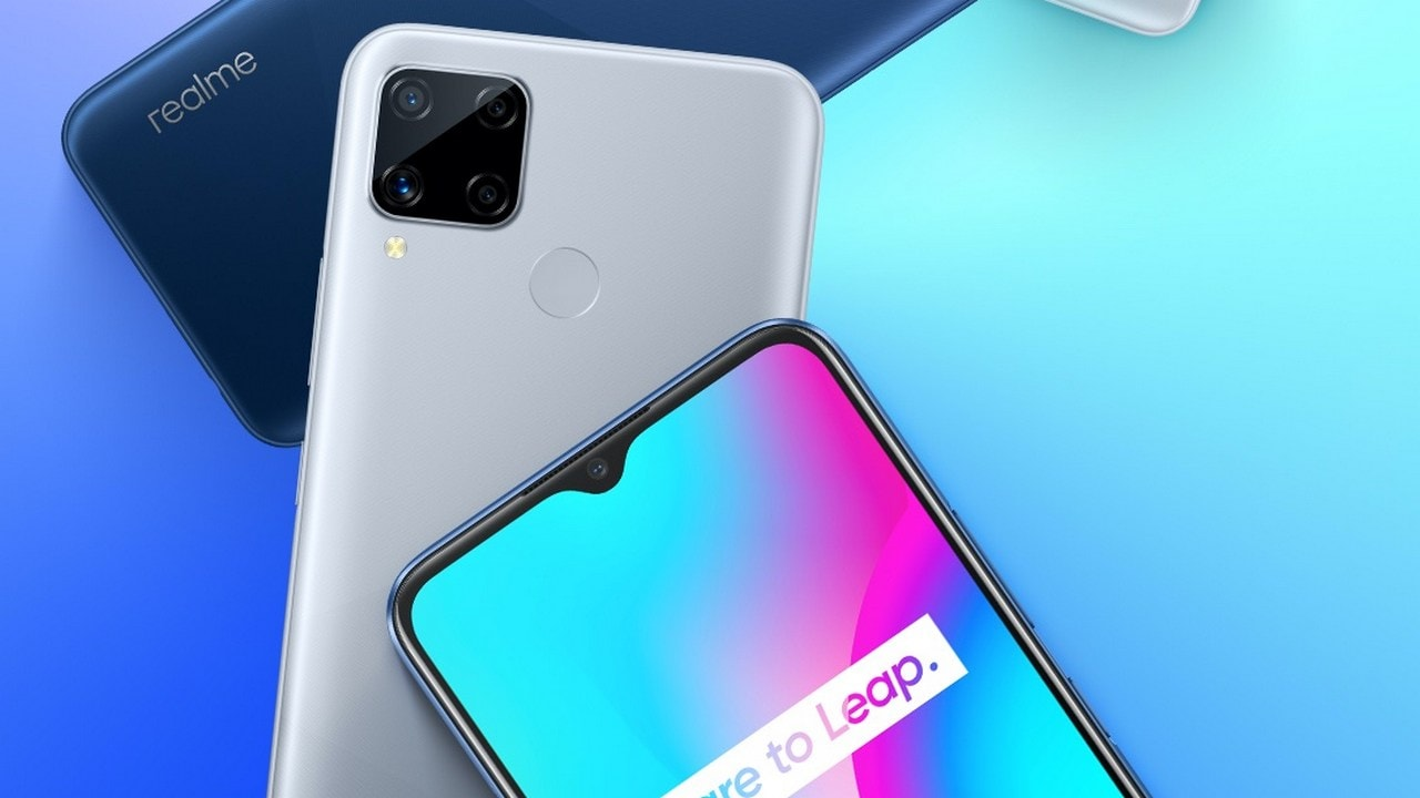 A picture of three new launched Realme devices